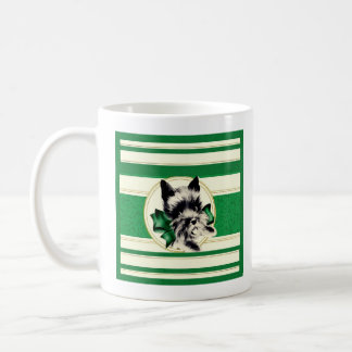 Vintage Black Scottish Terrier on green mug