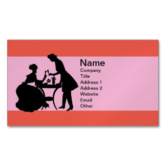 Vintage Black Silhouette Couple Toasting To Love Business Card Magnet