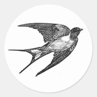 Vintage Black Swallow Design Round Sticker