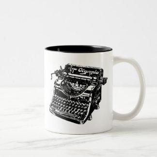 Vintage Black Typewriter Two-Tone Coffee Mug
