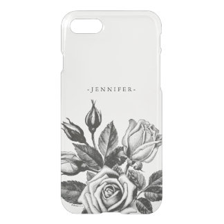 Vintage Black Victorian Tea Roses Clear iPhone 7 Case