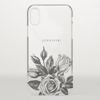 Vintage Black Victorian Tea Roses iPhone X Case