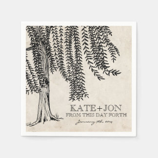 Vintage Black Weeping Willow Tree Paper Napkin