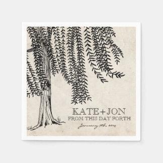 Vintage Black Weeping Willow Tree Paper Napkins