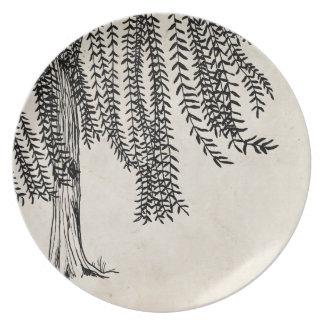 Vintage Black Weeping Willow Tree Plate
