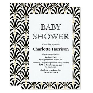 Vintage Black & White Art Deco Fans Baby Shower Card