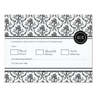 "Vintage Black & White Baroque Wedding RSVP 4.25"" X 5.5"" Invitation Card"