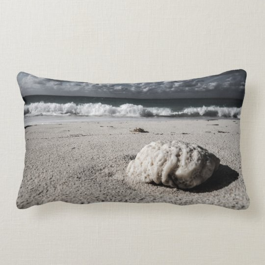 Vintage Black&White Beach Close-Up Lumbar Pillow