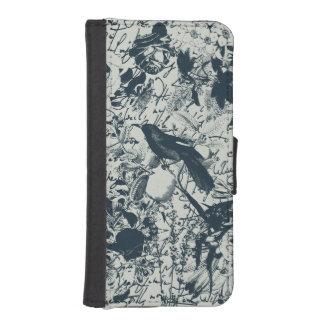 Vintage Black & White Bird Floral and Script Print Phone Wallet Case