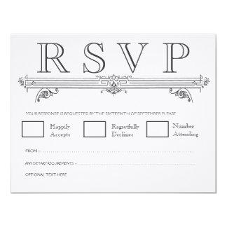 "Vintage Black & White Elegant Wedding RSVP Cards 4.25"" X 5.5"" Invitation Card"