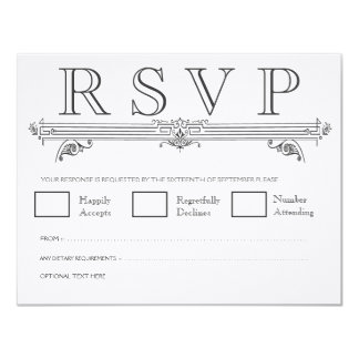"Vintage Black & White Elegant Wedding RSVP Cards 4.25"" X 5.5"" Invitation Card"