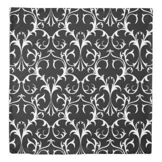 Vintage Black White Floral Damask Quee Size Duvet