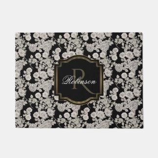 Vintage Black | White Floral Monogram Doormat