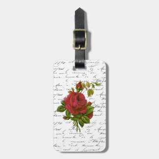 Vintage Black White French Typography Red Rose Luggage Tag