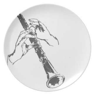 Vintage Black White Hands Clarinet Benny Goodman Dinner Plates