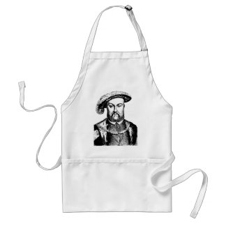 Vintage Black & White King Henry the Eighth viii Standard Apron