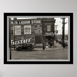Vintage  Black & White Liquor Store Photo 12 x 16 Poster