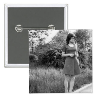 Vintage Black & White Photo of Mod Girl 2 Inch Square Button