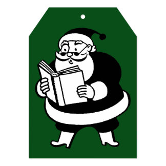 Vintage Black & White Reading Santa Green Gift Tag Card