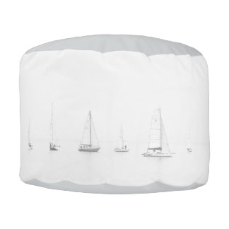 Vintage black & white sailboats nautical photo pouf
