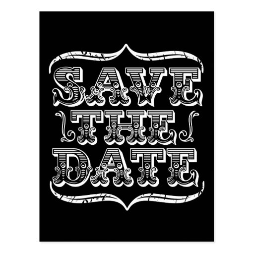 Vintage Black & White Typography Save the Date Postcards