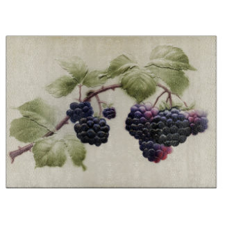 Vintage Blackberries and Leaves Postcard Art Cutting Board