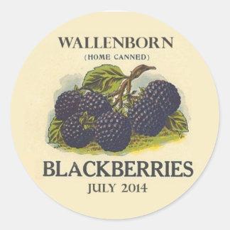 Vintage Blackberry Jam Label Round Sticker