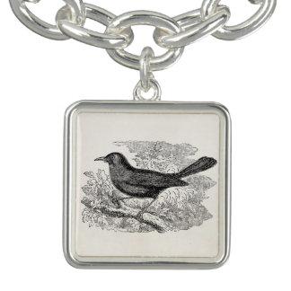 Vintage Blackbird Bird Personalized Black Birds Charm Bracelet