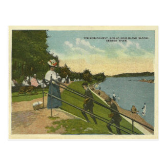 Vintage Blanc Island Detroit River Postcard