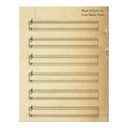 Vintage Blank Sheet Music  Piano Staves Letterhead