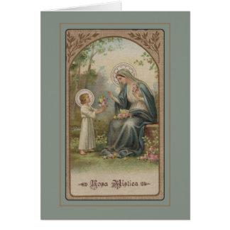 Vintage Blessed Mother Child Jesus Roses Card