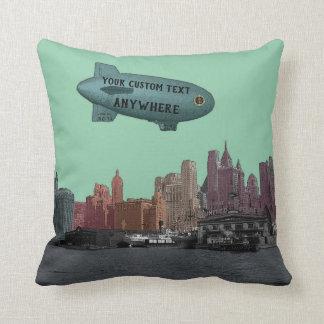 VINTAGE BLIMP OVER NEW YORK CITY SKYLINE CUSTOM THROW PILLOW