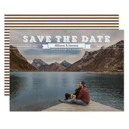 Vintage Block Letters Sepia Photo Save the Date Card