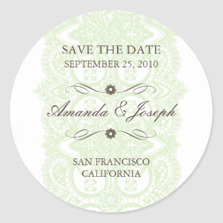 Vintage Blossom Lace Save The Date Stickers