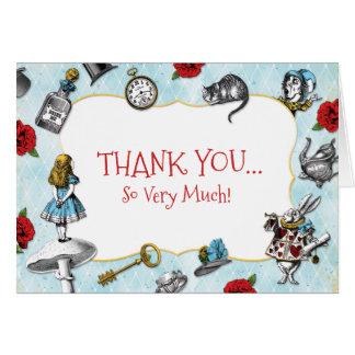 Vintage Blue Alice in Wonderland Thank You Card