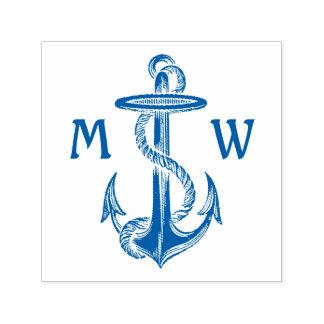 Vintage Blue Anchor Rope Nautical Sea Monogrammed Self-inking Stamp