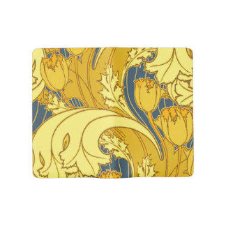 Vintage Blue and Gold Tulip Pattern Large Moleskine Notebook