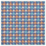 Vintage blue and orange houndstooth plaid pattern fabric
