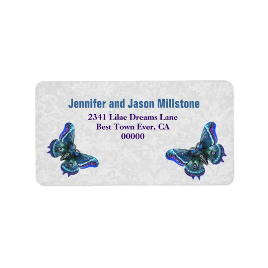 Vintage Blue and Purple Butterflies Wedding Label