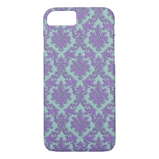 Vintage Blue and Purple Damask iPhone 7 Case