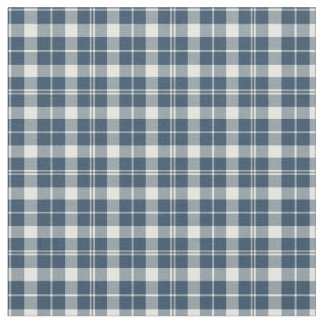 Vintage Blue and White Checkered Plaid Fabric