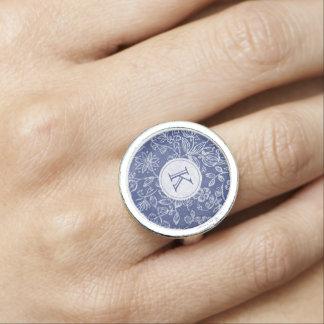 Vintage Blue and White Floral Monogrammed Ring