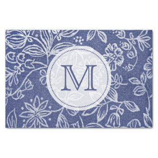 Vintage Blue and White Floral Monogrammed Tissue Paper