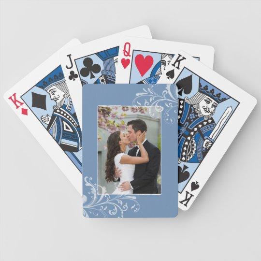 Vintage Blue and White Floral Photo Wedding Poker Deck