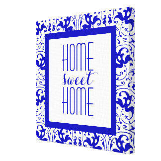Vintage Blue and White Swirl Home Sweet Home Canvas Print
