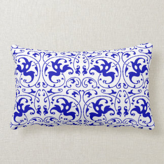 Vintage Blue and White Swirl Lumbar Pillow