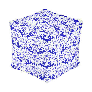 Vintage Blue and White Swirl Pouf