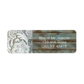 vintage blue barn wood lace country wedding return address label