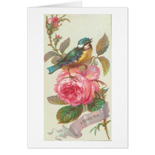 Vintage Blue Bird and Pink Flower Birthday Card
