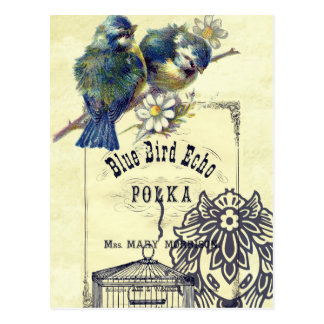 Vintage Blue Bird Birdcage Collage Postcard